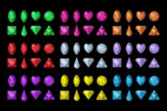 Colored gems set. Jewelry, crystals collection isolated on black background. Precious stones of different shapes, cut