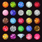 Colored gems set. Naming, illustration isolated on dark background royalty free illustration