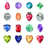 Colored gems. Set of colored gems on white background. Created in Adobe Illustrator. Image contains gradients and gradient meshes. EPS 8 vector illustration royalty free illustration