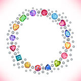 Colored gems square round frame isolated on light background. Vector illustration stock illustration