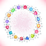 Colored gems square round frame. On light background, vector illustration vector illustration