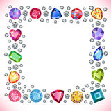 Colored gems square shape frame isolated on light background. Vector illustration stock illustration