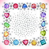 Colored gems square shape frame Royalty Free Stock Image