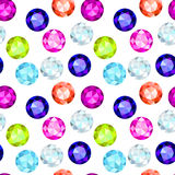 Colored gemstone seamless pattern. In over white Royalty Free Stock Images