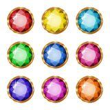 Colored gemstones set in gold. Vector illustration Royalty Free Stock Photos