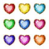 Colored gemstones set in gold. Vector illustration Stock Image