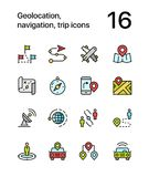 Colored Geolocation, navigation, trip icons for web and mobile design pack 3 Royalty Free Stock Photo