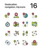 Colored Geolocation, navigation, trip icons for web and mobile design pack 1 Stock Photo
