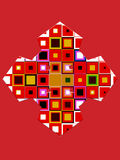 Colored geometric figures on a bright red background. Abstract composition of colored geometric figures on a bright red background Stock Image