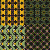 Colored geometric seamless patterns with different shapes. Abstract backgrounds Royalty Free Stock Image