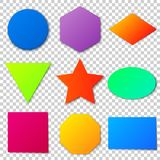 Colored geometric shapes with a realistic shadow. Bright backgro Royalty Free Stock Image