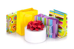 Colored gift bags and box Stock Photo
