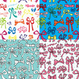 Colored gift bow seamless pattern.Holiday doodle Stock Image