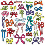 Colored gift bow set.Holiday doodle Royalty Free Stock Images