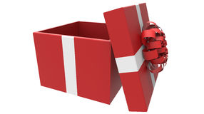 Colored gift box in red and white Royalty Free Stock Photos
