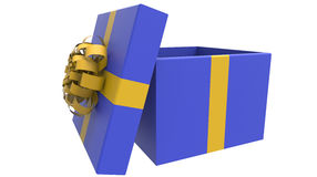 Colored gift box in yellow and blue. 3d render Royalty Free Stock Image