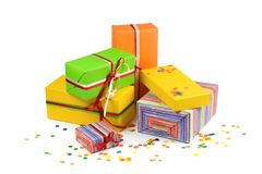Colored gift boxes Stock Images