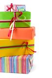 Colored gift boxes. Stack of colored gift boxes. Isolated on white Royalty Free Stock Photos