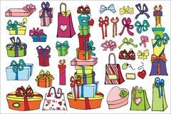 Colored gift boxes ,bags ,bow set.Holiday doodle Royalty Free Stock Photography