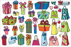 Colored gift boxes ,bags set.Happi Holiday doodle Royalty Free Stock Photos