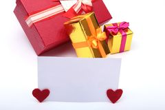 Colored gift boxes for celebration occasion. Place for your text. Stock Photos