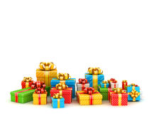 Colored gift boxes with copyspace Royalty Free Stock Images