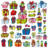 Colored gift boxes.Holiday Doodle set Royalty Free Stock Image