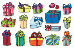 Colored gift boxes with shadow. Doodle set Royalty Free Stock Images