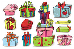 Colored gift boxes with shadow.Doodle set Stock Image