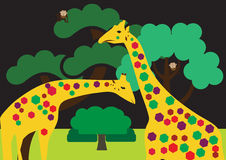 Colored giraffes Stock Photo