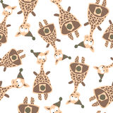 Colored giraffes in retro style, seamless pattern Stock Image