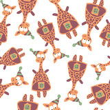 Colored giraffes in retro style, seamless pattern,  Royalty Free Stock Image