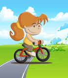 Colored  of a girl biking through the field Stock Photography