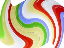 Colored glass. Close-up of colorful glass in smooth abstract swirling stripes on a white background Royalty Free Stock Photo