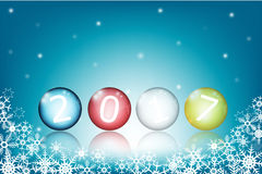 Colored glass balls with 2017 new year Stock Photos