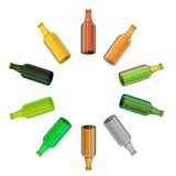 Colored Glass Beer Bottles Set Royalty Free Stock Images