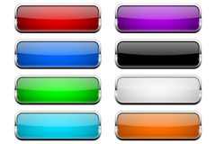 Free Colored Glass Button. Shiny Rectangle 3d Web Icons Royalty Free Stock Photography - 137999367