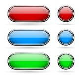 Colored glass buttons with chrome frame. Vector 3d illustration isolated on white background Stock Illustration