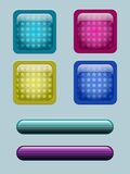 Colored glass buttons. Colored buttons with different shape patterns inside Stock Photos