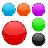 Colored glass buttons isolated on white background. Round 3d icons. Vector illustration Royalty Free Stock Photos
