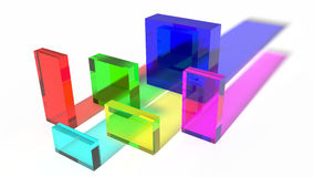 Colored glass cubes. Abstract colored glass cubes with color sadows Stock Images