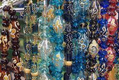 Colored Glass Decorations, Plaka. Coloured Glass Decorations, Athens Flea Markets, Plaka, Athens, Greece Royalty Free Stock Photography