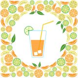 Colored glass of juice on a citrus background, vector vector illustration