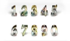 Colored Glass Numbers Royalty Free Stock Photography