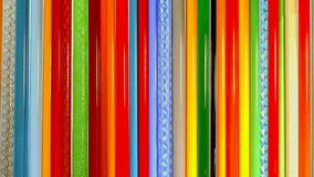 Colored glass rods, mateials for blowing glass royalty free stock photo