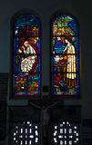 Colored glass, stained window church gothic Stock Images