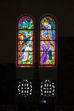 Colored glass, stained window church gothic Royalty Free Stock Image