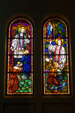 Colored glass, stained window church gothic Royalty Free Stock Photography