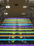 The colored glass staircase in office building Stock Image