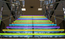The colored glass staircase in office building Stock Photography